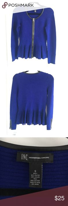 INC Blue Peplum Zip Top NWT - INC Ribbed Full-Zip Peplum Top in Goddess Blue. Has zippers on sleeves as well. Thick material similar to a sweater. INC International Concepts Tops Blouses