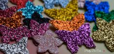 Glitter Fabric Mini Flowers & Butterflies, Die Cut Craft Embellishments - pinned by pin4etsy.com