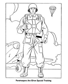 veterans day coloring pages for kids | Veterans Day Coloring Pages - World War 2 - Paratroopers Coloring Page ...