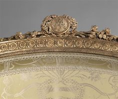detail of armchair en cabriolet (upholstered chair with concave back) with the signature mark of Marie-Antoinette on top    by Séné Jean-Baptiste-Claude (1747-1803)    c. 1788