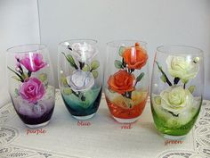Handmade Nylon Flower Arrangements in Colorful Glass Highballs
