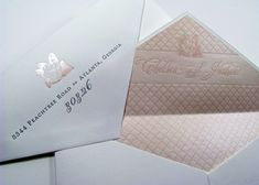 Shimmery, textured envelope liner with coordinating stamp