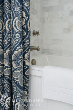tub frame - Love this fabric for the shower curtain.  Wonder who the mfg is?