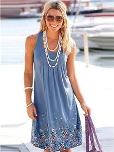 Ärmellose Freizeit Kleid