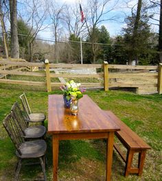 CUSTOM BUILT Reclaimed Harvest Table and Bench by ReclaimedAmerica, $2100.00