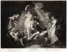 A Midsummer Nights Dream act IV, scene I. Titania, with fairies in attendance. Engraving from a painting by Henry Fuseli,