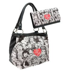 I Love Lucy Lucille Ball Classic Vintage Black & White Handbag Purse Wallet Set