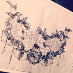 Resultado de imagem para beautiful skull tattoos for women Skull Tattoos, Body Art Tattoos, New Tattoos, Girl Tattoos, Chest Piece Tattoos, Spine Tattoos, Maori Tattoos, Celtic Tattoos, Animal Tattoos