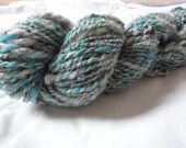 Handspun yarn, Double ply, Blue/green and white, 70 yards