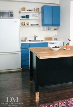 Budget kitchen renovation - turquoise painted 80s laminate cabinets, IKEA island w/ butcher block countertop, white appliances, black range hood