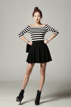 Striped off shoulder top with a skirt