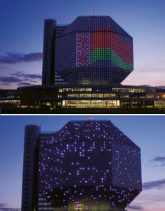 The entire facade of the geometric National Library of Belarus is an LED display; during the day, the glass panels glimmer in the sun, and at night, they're illuminated from within to put on a constantly shifting light show. The library is an incredible 23 stories tall and contains the third largest collection of books in Russian