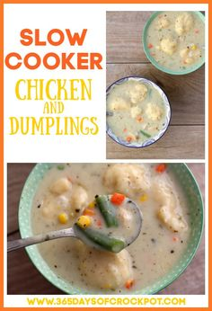 1 reviews · 6 minutes · Serves 8 · Slow Cooker Chicken and Dumplings–a creamy chicken soup with dumplings and mixed vegetables. Make this classic dish easily in your slow cooker! #slowcooker #crockpot #chicken #soup