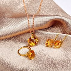 Gegorous 18K Solid Yellow Gold Natural Citrine Jewelry Sets Necklace+Ring+Earrings, View Jewelry set, First Lady Product Details from Guangzhou First Lady Jewelry Co., Ltd. on Alibaba.com