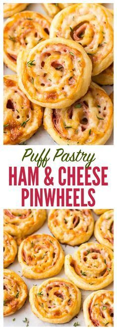 Easy Ham and Cheese Pinwheels with Puff Pastry. Just FOUR ingredients! Everyone loves this simple and delicious appetizer recipe. Easy to make ahead and perfect for holiday parties too! Recipe at http://wellplated.com | /wellplated/