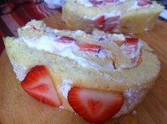 """Strawberry, cream and Snøfrisk cheese """"rullekake"""" or Swiss Roll cake.  Delicious! Get the recipe for this and many other Norwegian dishes at http://arcticgrub.wordpress.com/2013/06/23/rullekake-a-perfect-cake-for-any-season/"""