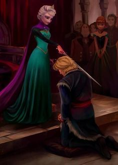 I love this! I think if they ever did make a Frozen 2 then the relationship between Elsa and Kristoff would be important to establish. Then Elsa would know the man who would be taking Anna away. Frozen Disney, Walt Disney, Gif Disney, Disney Fan Art, Disney And Dreamworks, Disney Magic, Disney Movies, Disney Pixar, Disney Characters