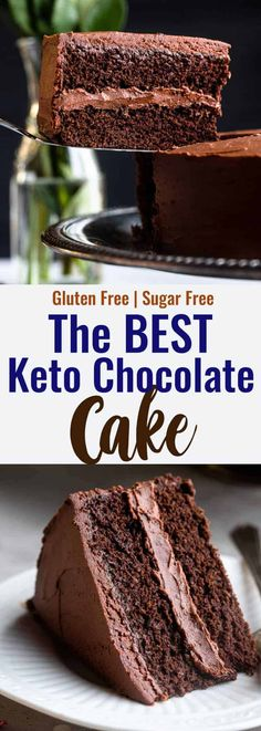 It's hard to believe this delicious Keto Chocolate Cake has no sugar! Free of gluten and full of healthy fats, it's a decadent keto dessert! | #FoodFaithFitness | #ketocake #ketochocolatecake #ketobaking #lowcarbdessert #chocolatecake Diabetic Cake Recipes, Dessert Recipes, Keto Recipes, Healthy Recipes, Sugar Free Desserts, Low Carb Desserts, Healthier Desserts, Dairy Free Chocolate Cake, Chocolate Recipes