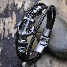 Men vintage black leather bracelets with anchor 2017