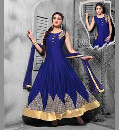 Blue Art Silk Readymade Ankle Length Anarkali Suit 70378