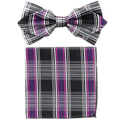 Purple Plaid Bow Tie with Pocket Square (Pointed Tip)