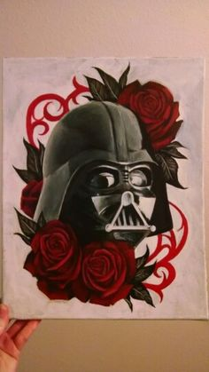 Darth Vader painting, star wars art, traditional tattoo realistic red roses acrylic painting. Brittany Smith, Post Falls Idaho.