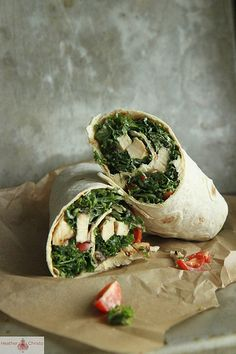 Kale Caesar Salad with Grilled Chicken Wrap via @heatherchristo. This looks delicious.