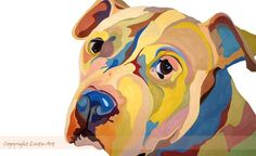 Love the variety of colors and tones used in this dog painting by Sarah Thornton of Lintu Art.