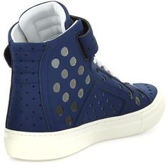 (48) Fancy - Perforated Leather High-Top Sneakers by Pierre Hardy