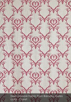 Deer Damask Fabric from Barneby Gates in Claret