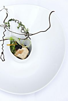 Chef David Moore's dish plated on Pillivuyt, @Matt Valk Chuah Vegetarian Diaries U Fight to the French Laundry competition