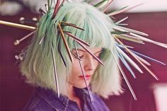 50 Shades Of Rainbow Hair #refinery29  http://www.refinery29.com/colorful-hair-tips#slide-33  For a test shoot with photographer Guy Aroch, Friedman favored a pastel take on lime green. Hair spikes totally optional.