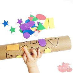 Shape Match turned Paint Roller! ♻️ Here's a favourite Busy Bag for Toddlers & Preschoolers using a cardboard tube & foam Shape stickers! Once you're finished matching all the shapes, roll it in some paint & make your own patterned paper!  #craftyliving #craftylivingkids