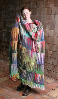 pennants afghan pattern. free on ravelry. knit with noro. beautiful colors.