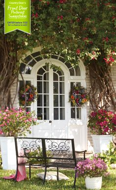 Country Door's Front Door Pinterest Sweepstakes! What does your dream front door look like? Enter for a chance to win our Summer Star  3-Tier Flower Cart! #CountryDoorSweepsEntry www.countrydoor.com/pinterestsweeps