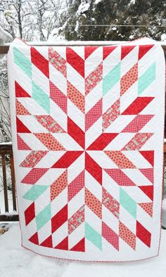 red and aqua turquoise quilt