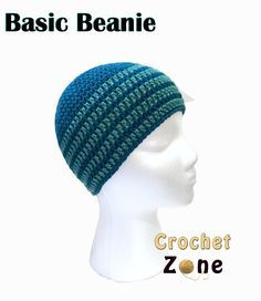 Basic Beanie Hat Patternby Crochet Zone - with formula for measuring when to stop increasing!
