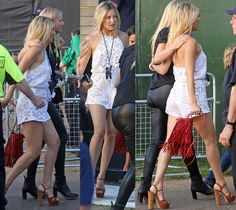 KATE HUDSON with MCFADIN Red Sundance Fringe Bag and pal Gwyneth Paltrow  at Taylor Swift's Concert in London's Hyde Park.