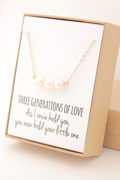 Drei goldene Perlenkette  Geschenk von Oma  Muttertag