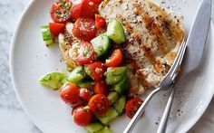 Grilled Chicken with Tomato-Cucumber Salad Recipe by Food Network Kitchens