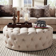 Knightsbridge Round Tufted Cocktail Ottoman with Casters by iNSPIRE Q Artisan - Small living room decor - Design Rattan Furniture Tufted Ottoman Coffee Table, Round Tufted Ottoman, Ottoman Decor, Ottoman In Living Room, Living Room Decor, Tuffed Ottoman, Fabric Coffee Table, Ottoman Stool, Square Ottoman