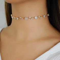 For a delicate, intricately designed piece with rhinestone jewels, our VALENTINA statement choker is the perfect choice. Fancy Jewellery, Prom Jewelry, Ear Jewelry, Stylish Jewelry, Simple Jewelry, Dainty Jewelry, Cute Jewelry, Luxury Jewelry, Jewelery