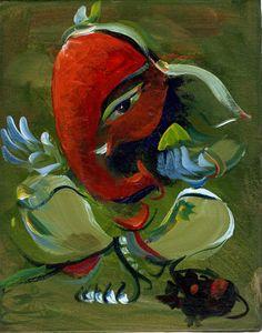 Abstract Art - Omkara Ganpati - Ganesha Painting Collection by Raghuraman Pintura Ganesha, Arte Ganesha, Lord Ganesha, Shri Ganesh, Durga, Arte Tribal, Tribal Art, Traditional Paintings, Traditional Art