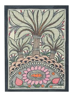 Buy Multi Color Multicolor Lotus Madhubani Painting 7.5in x 5.5in Handmade paper Online at Jaypore.com Lotus Flower Art, Lotus Art, Madhubani Art, Madhubani Painting, Lotus Drawing, Lotus Image, Kerala Mural Painting, Fabric Painting, Painting Art