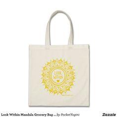 Look Within Mandala Grocery Bag Gold Print