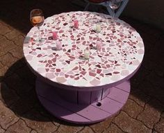 Mosaic table out of a cable reel