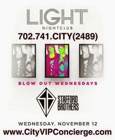 Stafford Brothers at LIGHT Las Vegas Nightclub Wednesday November 12th. Contact 702.741.2489 City VIP Concierge for Table and Bottle Service, Tickets and the Best of Las Vegas Wednesday Night Nightclub VIP Services. #LIGHTLasVegas #VegasNightclubs #LasVegasNightclubs #VegasBottleService #LasVegasBottleService #VegasVIPServices #LasVegasVIPServices #VegasWednesdayNightNightclubs #LasVegasWednesdayNightNightclubs #CityVIPConcierge *CALL OR CLICK TO BOOK…