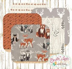Design a custom rag quilt with these woodland prints for the special little one in your life. This custom quilt would also make a perfectly