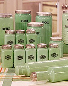 Jadeite, which comes in different patterns, is a stain- and heat-resistant, milky-green glassware. Common in the 1940's and 1950's, Jadeite was sold at hardware stores and five-and-tens