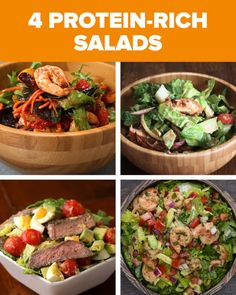 These 4 Protein-Rich Salads Will Keep You Fueled All Day Long - Salat High Protein Salads, Healthy Salads, Healthy Eating, Healthy Recipes, Large Salad Bowl, Salad Bowls, Soup And Salad, Different Vegetables, Chipotle